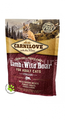 CARNILOVE INTO THE WILD LAMB & WILD BOAR FOR ADULT CATS ~ STERILISED (400 GRAM)