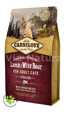 CARNILOVE INTO THE WILD LAMB & WILD BOAR FOR ADULT CATS ~ STERILISED (2 KG)