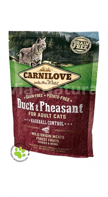 CARNILOVE INTO THE WILD DUCK & PHEASANT FOR ADULT CATS ~ HAIRBALL CONTROL (400 GRAM)