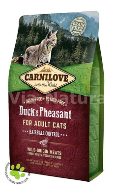 CARNILOVE INTO THE WILD DUCK & PHEASANT FOR ADULT CATS ~ HAIRBALL CONTROL (2 KG)