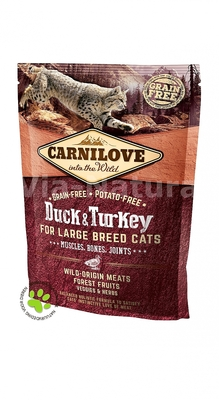 CARNILOVE INTO THE WILD DUCK & TURKEY FOR ADULT LARGE CATS ~ MUSCLES, BONES, JOINTS (400 GRAM)