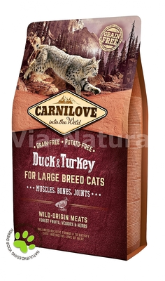 CARNILOVE INTO THE WILD DUCK & TURKEY FOR ADULT LARGE CATS ~ MUSCLES, BONES, JOINTS (2 KG)