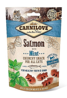 CARNILOVE CRUNCHY CAT SNACK SALMON WITH MINT (50 GRAM)