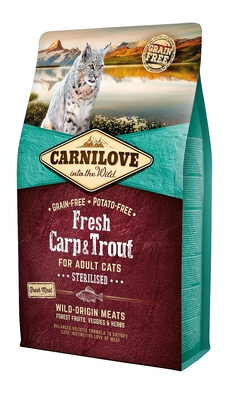 CARNILOVE INTO THE WILD FRESH CARP & TROUT FOR ADULT CATS ~STERILISED (2KG)